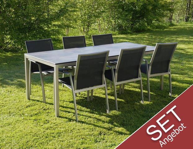 Aktions Set Flex Plus Tisch mit 6 Stühlen Argentina II